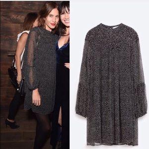 Zara Polka Dot Long Sleeve Mini Dress Black White